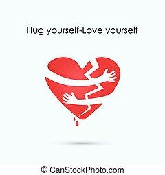 Broken heart icon. Hug yourself or Love yourself logo. Love ...
