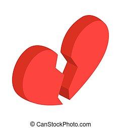 Broken heart icon, isometric 3d style