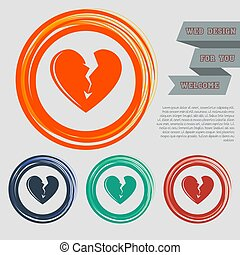 Broken heart icon on the red, blue, green, orange buttons for your website and design with space text. Vector