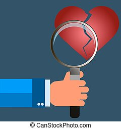 Broken heart icon, symbol, vector illustration. magnifying glass in hand