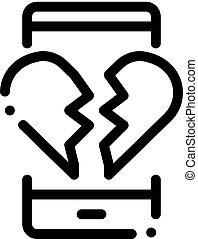 Broken Heart Icon Vector Outline Illustration