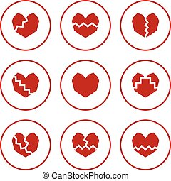 broken heart icons.