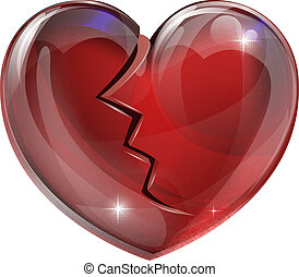 Broken heart - Illustration of a broken heart with a crack. ...
