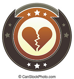 Broken heart imperial crest - Broken heart icon on round red...