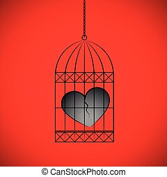 broken heart in a bird cage on red background