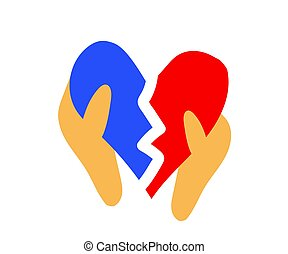 Broken heart in hands on a white background. Symbol. Vector