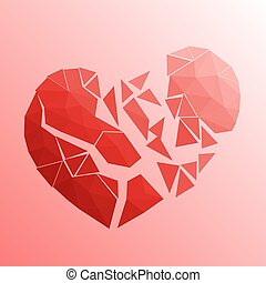 Broken heart in lowpoly style on bright background