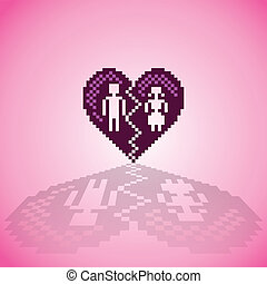 broken heart in pixels - illustration