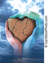 Broken heart in three hands - Friends and another people...