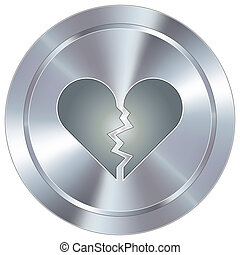 Broken heart industrial button - Broken heart icon on round...