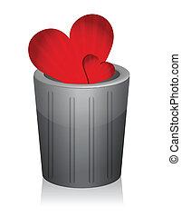 Broken heart inside a trashcan