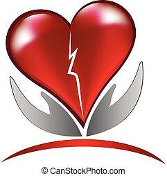 Broken heart love logo