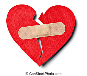 broken heart love relationship and plaster bandage - close...