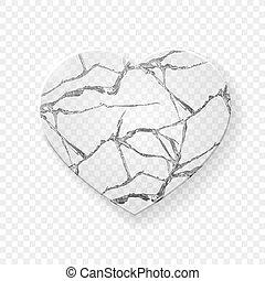 Broken heart made from glass