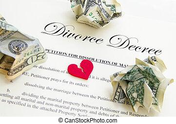 broken heart on divorce document with cash