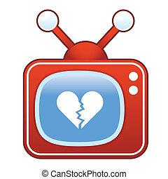 Broken heart on retro television