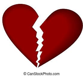 Broken heart on white. Vector.