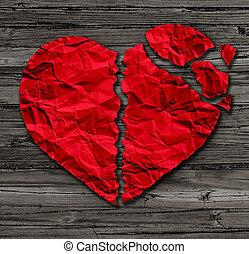 Broken Heart - Broken heart breakup concept as a separation...