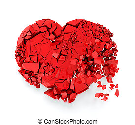 Broken heart - Red heart fallin to the ground and breaking...