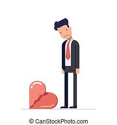 Broken heart. Sad man in a business suit. Divorce in the...
