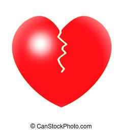 broken-heart, serce, valentine, złamany, dzień, widać
