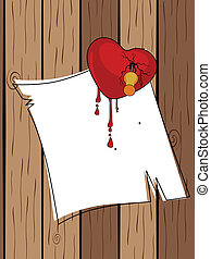 Broken heart stick by a pin with blank paper having blood drops on wooden, vector illustration for Valentine Day.
