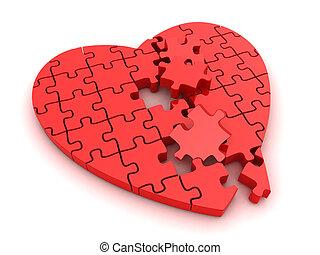 Broken Heart - 3D Illustration of a Broken Jigsaw Puzzle