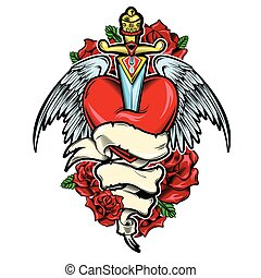 Broken Heart Tattoo Design