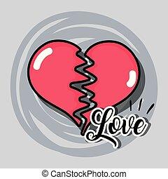broken heart to love symbol decoration