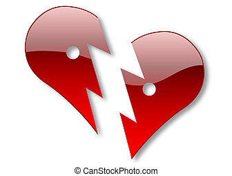 Broken heart - Two halves of glossy heart illustration...