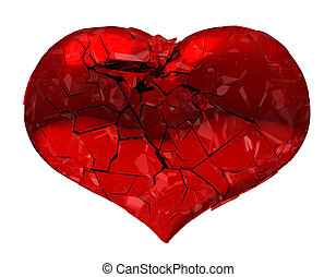 Broken Heart - unrequited love, disease, death or pain. Isolated on white. XXXLarge 9000*7000 px