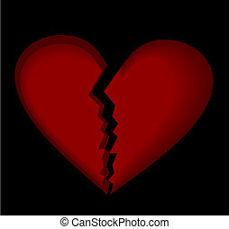 Broken heart. Vector.