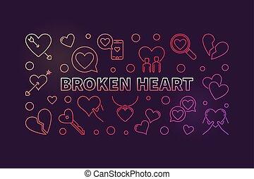 Broken Heart vector concept colored outline illustration or...