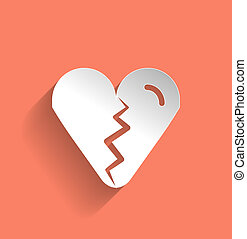 Broken heart vector icon flat modern design