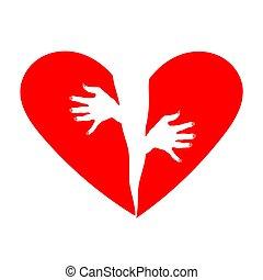 Broken heart vector illustration.