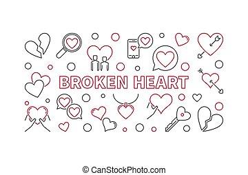 Broken Heart vector illustration or banner in thin line...