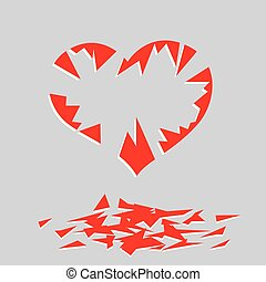 broken heart. vector image for illustration
