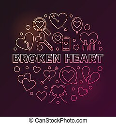 Broken Heart vector round colored linear illustration on...