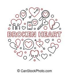 Broken Heart vector round illustration in thin line style -...