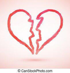 Broken heart. Vector sketch.