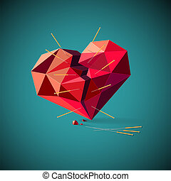 Broken heart with acupuncture needles - Conceptual ...