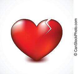 Broken heart with crack. Vector background