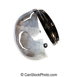 Broken helmet after accident on a white background.
