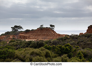 Rugged razor edged erosion in the sandstone on Torrey Pines hillside with the verdant bushes in the foreground