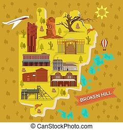 Broken Hills map, Australia famous landmarks