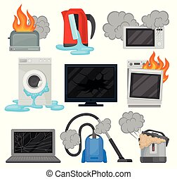 Broken home appliances set, damaged electrical household equipment vector Illustrations on a white background