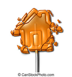 Broken Home concept as a shattered candy lollipop shaped as...