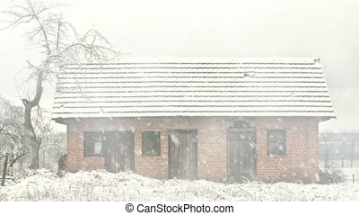 broken house at winter snowfall - old broken house at winter...