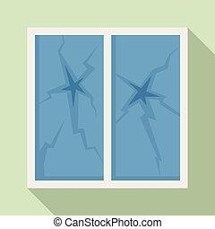 Broken house window icon, flat style