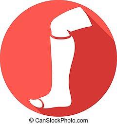 broken human leg in cast flat icon
